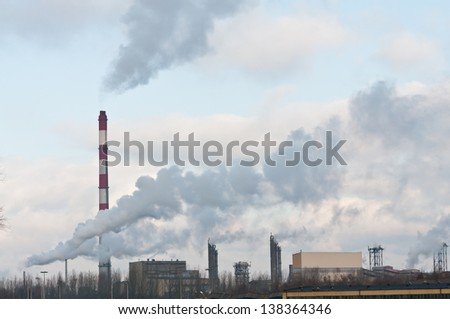 dirty smoke and pollution produced by chemical factory