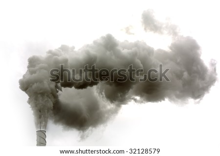Dirty smoke on the white background, ecology problems
