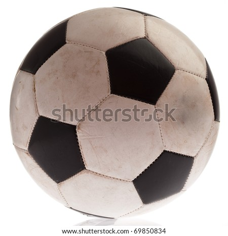 dirty soccer ball isolated on a white background