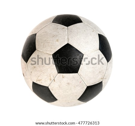 Dirty soccer ball isolated on white background Stockfoto ©
