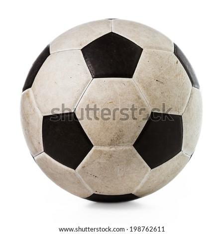 Dirty soccer ball on white background Stockfoto ©