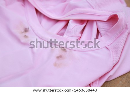 Dirty sweat stain on collar shirt from daily life activity. dirt stains for cleaning washing concept  #1463658443