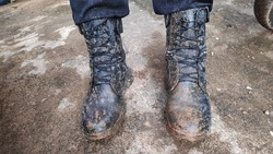 dirty tactical boots after war