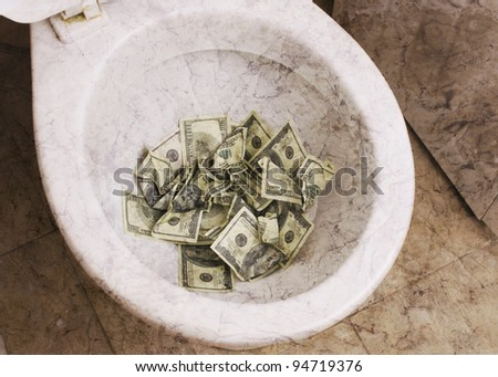 dirty toilet with money