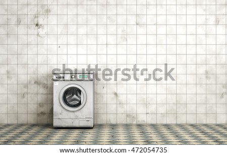 Dirty washing machine in the empty dirty room in grunge style. Tiled room. 3d illustration