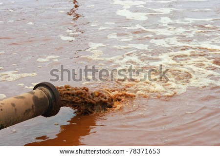 Dirty water discharged into river