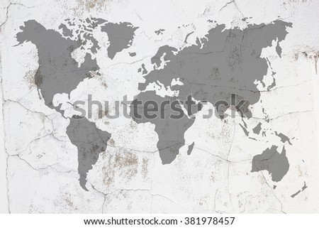 Dirty white concrete and cement wall with moss and world map black color tone on wall texture background. abstract wall paper design #381978457