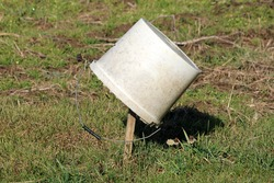 Dirty white cracked broken old plastic bucket with hole on side and metal handle left on top of short wooden stake in local urban home garden surrounded with grass and garden plants