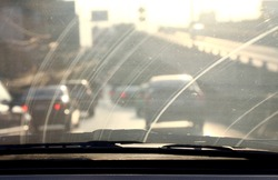 Dirty Windshield, Pollution Auto Glass dirty with interior view in car
