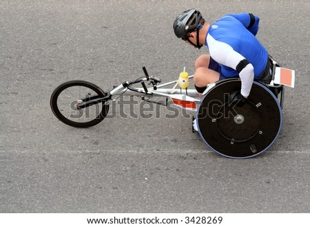 Disabled athlete in marathon. Ottawa, Ontario. Canada.