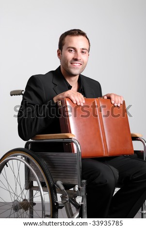 Disabled business man in a wheelchair