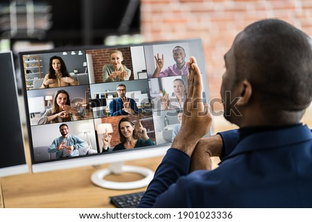 Disabled Deaf Man In Video Conference Call Stock foto ©