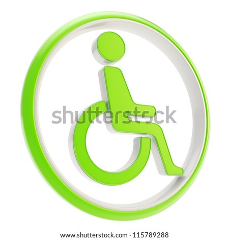 Disabled handicapped person circle round icon green emblem isolated on white background