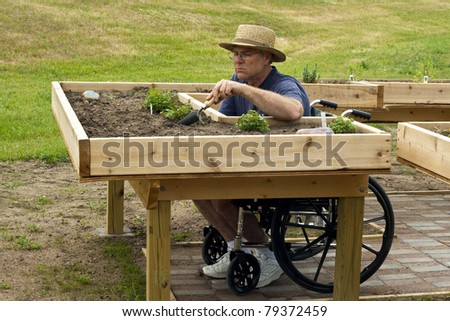 disabled man in a wheelchair working at an enabling garden table