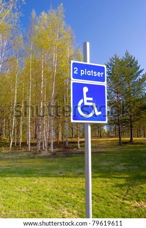 Disabled parking sign near green summer park