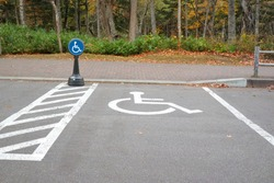 Disabled parking with blue parking sign.Sign and transportation concept.