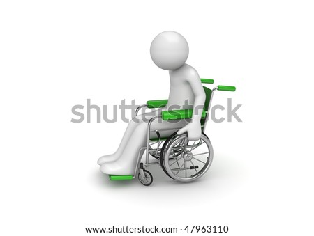 Disabled person on a wheeled chair (3d characters isolated on white background, medicine series)