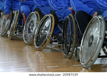 disabled persons basketball players in wheelchairs