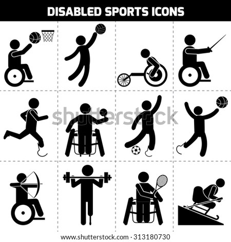 Disabled sports black pictogram invalid people icons set isolated  illustration