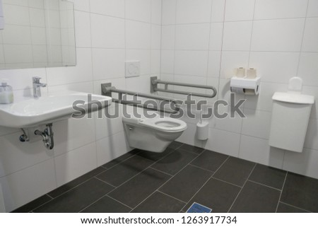 Disabled toilet in a public building in Hamburg, Germany, Europe  Stock foto ©