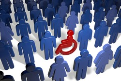 Disabled wheelchair user amongst many male and female people