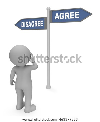 Disagree Agree Sign Showing All Right And Affirmation 3d Rendering