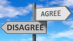 Disagree and agree as a choice - pictured as words Disagree, agree on road signs to show that when a person makes decision he can choose either Disagree or agree as an option, 3d illustration