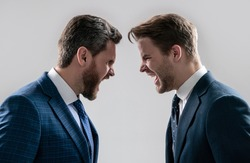 disagreed men business partners or colleague disputing aggressive and angry while conflict, rivalry.