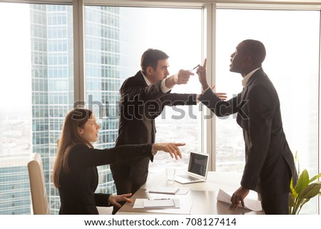 Disappointed with decision african american male candidate insulting recruiters, offended employers dismissing dissatisfied applicant after failed interview. Dismissal from work, refusal to finance  #708127414