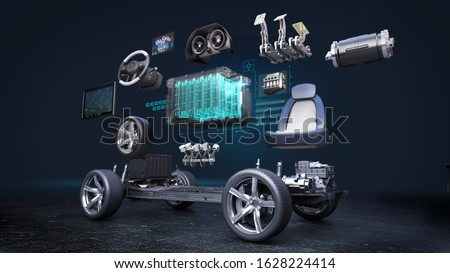 Disassembled car, Electronic, hydrogen, lithium ion battery echo car. Charging car battery. eco-friendly future car. 3D rendering.
