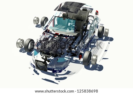 Disassembled car on a white background. - stock photo