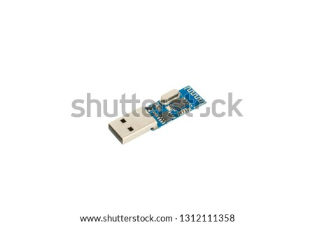 Disassembled flash drive, flash drive chip, isolated, on white background #1312111358