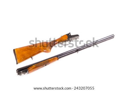 Disassembled hunting rifle isolated