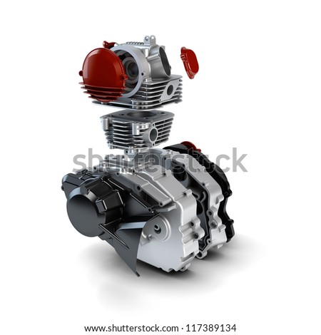 Disassembled motorcycle performance engine isolated on white