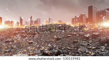Disaster in city concept . Mixed media