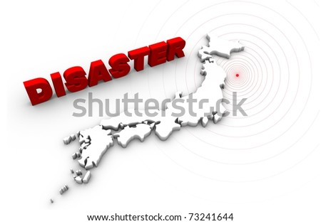 Disaster text with Japan map. Japan earthquake disaster 2011.