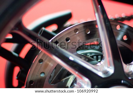 Disc brakes of sport motorcycle - stock photo