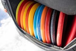 Disc golf discs in the bag
