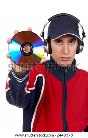 Disc Jockey holding a compact disc over a white background. Focus on CD