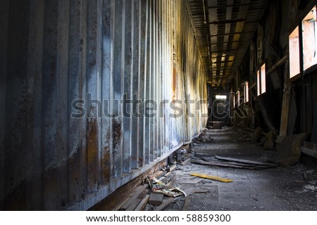 discarded building, corridor