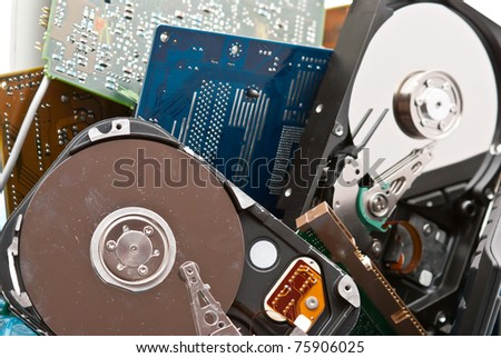 Discarded, used and old computer hardware.