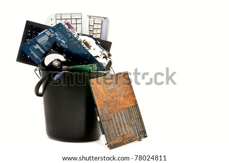 Discarded, used and old computer hardware. Isolated on white background