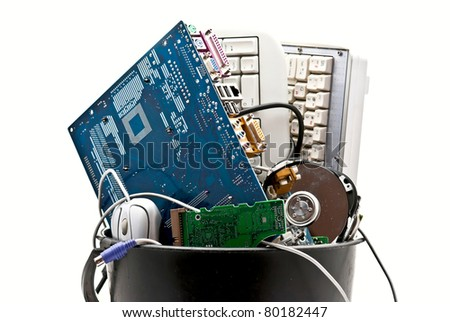 Discarded, used and old computer hardware. White background - stock photo
