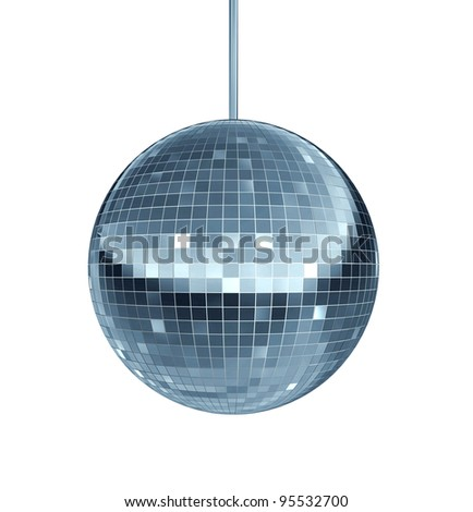 Disco ball as a mirror ball symbol of fun and dance party in a nightclub or dancing club as a celebration to let loose and enjoy the groove of the cool music beat.