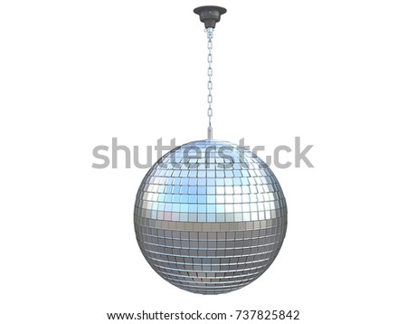 disco ball chrome party of a dance club reflecting roof hanging with a chain 3d rendering