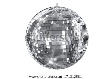 Disco Ball Isolated on White. Elegant Shiny Disco Ball 3D Illustration.