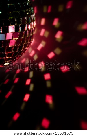 Disco ball light reflection background. Close up.