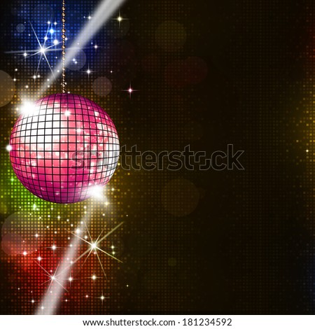 disco ball multicolor music background for active party events
