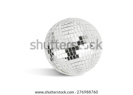 Disco ball on white background with shadow