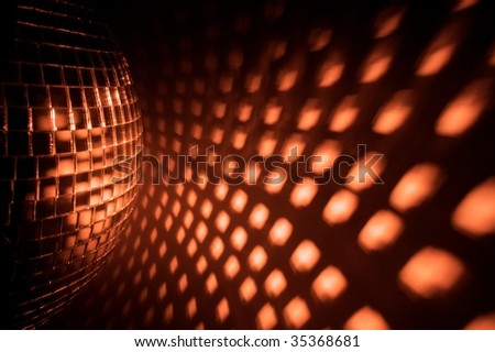 Disco ball reflection on the wall